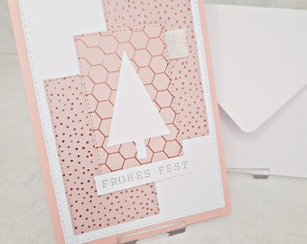Christmas cards to choose from Pink, white and partly rose gold foiled (cards No.1-4)