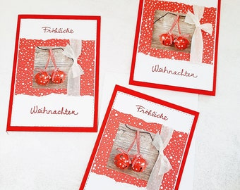 Christmas Cards Motif Bell Red & White (Card No. 25) Set of 3 corresponds to a unit price of 2.50 Euro