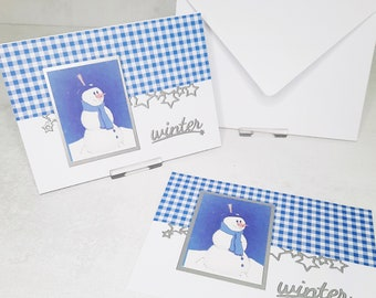 Christmas Cards Set of 2 or Set of 4 Unit Price 2.50 Euro - Selection Snowman - Winter (Tickets No. 19-21)