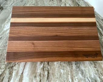 Cutting board made of black walnut, maple and cherry