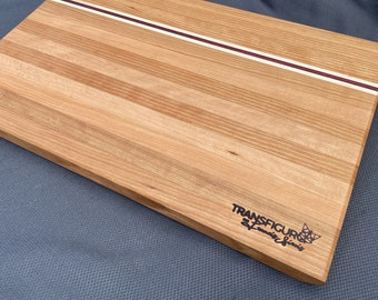 Cutting board in cherry, maple and amaranth