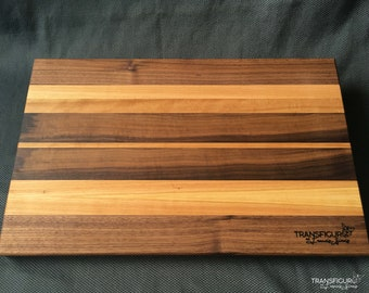 Cutting board of black walnut and cherry