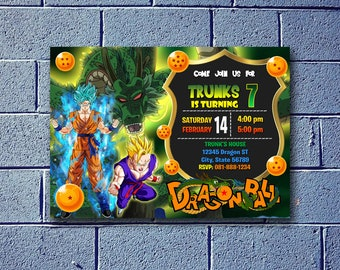 Dragon Ball Z Birthday Invitation Invite Super Saiyan Party Supplies