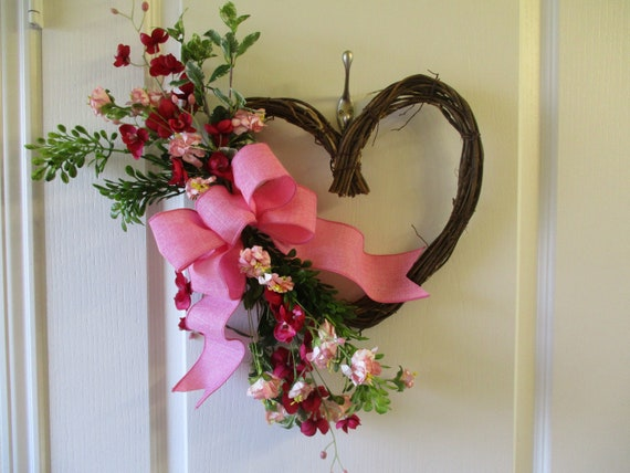 Valentine Wreath Heart Shape Grapevine Wreath Light Pink And Etsy