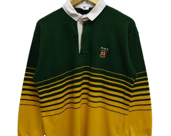 b372d945 Rare Vintage 90s BANFF CANADA Embroidered Logo Striped Long Sleeve Rugby  Polo Shirt Streetwear Hip Hop Skate Swag Large Size