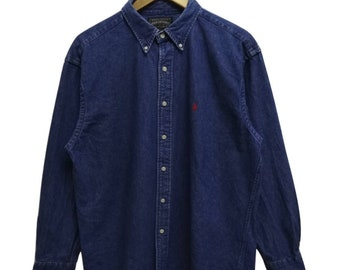 c15cc39ba Rare Vintage 90s RALPH LAUREN Polo Country Embroidered Small Pony Denim  Jeans Button Down Shirt Streetwear Hip Hop Skate Swag Large Size