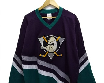 1c10997c8 Rare Vintage 90s Anaheim Mighty DUCKS by CCM NHL Big Embroidered Logo  Multicolor Hockey Jersey Streetwear Hip Hop Skate Swag Men s Large
