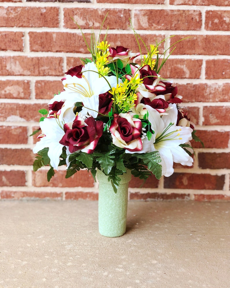 Etsy & Cemetery vase Arrangement ~ Beautiful Burgundy Ivory open rose Ivory Lily Mixture Cemetery Vase Flowers ~ Mother\u0027s day
