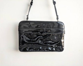 cf48d8bf785 Vintage Black Glossy Vinyl 80s Formal Evening Handbag Clutch