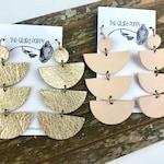 Leather 3 Tiered Half Moon Geometric Earrings | Dangle Earrings | Drop Earrings | Statement Earrings