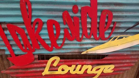 Mermaid Lounge Retro Corrugated Metal Sign Custom Lake House Sign FREE SHIPPING Boat Dock Lake House Decor Lake Sign Camping