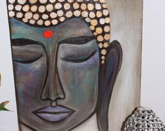 photo asiatique Encadrée Imprimer-Golden Bronze Buddha visage avec Oriental Lettrage