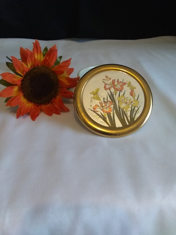 1970\u2019s Gold Trimmed with Sunflowers Vintage Trinket Tray