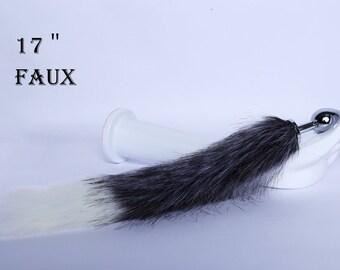 4f79e86f7ea Tail butt plug-Fox tail butt plug-Long tail butt plug-Sexy-Couple sex toys- white and gray fox tail-Flirting tools-Dildo-Tail plug mature