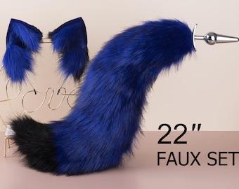 black and blue fox tail plug and ear neko ear and tail set neko cosplay anime wolf tail buttplug and ear kitten ear and tail plug set mature