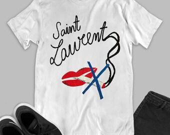 20384fb80 Smoke Brand logo fashion white black unisex t-shirt inspired by Saint  Laurent