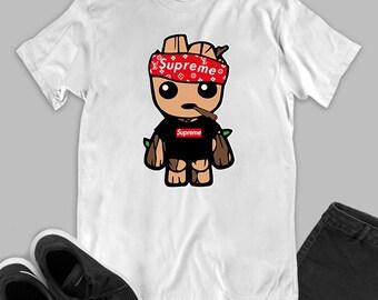 9b3ecdce6575 Groot Supreme LV fashion white black unisex t-shirt inspired by Lois Vuitton