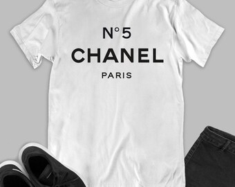 6e23af771 Chanel logo fashion white black unisex t-shirt inspired by Chanel