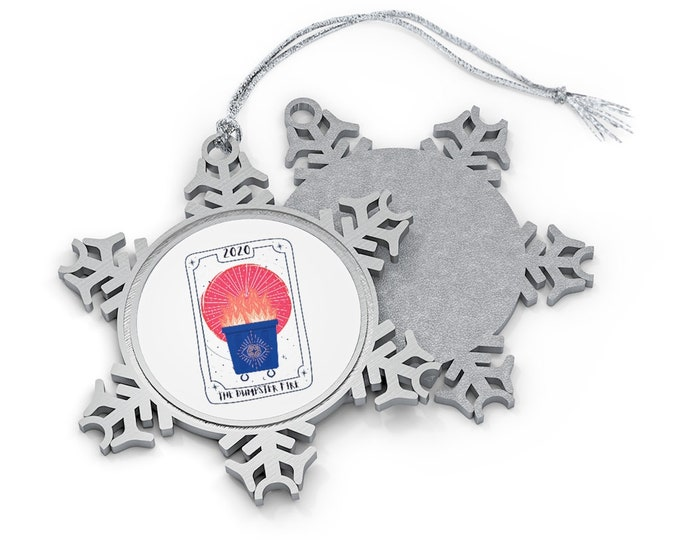 Dumpster Fire Pewter Snowflake Ornament