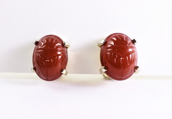 Carnelian Scarab 12K GF Clip Earrings, Vintage Gol
