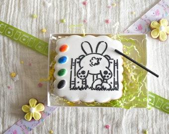 Sablé à peindre - PYO - activité enfant pour Pâques - activité manuelle enfant - lapin - pâques - panier de pâques - chasse aux oeufs