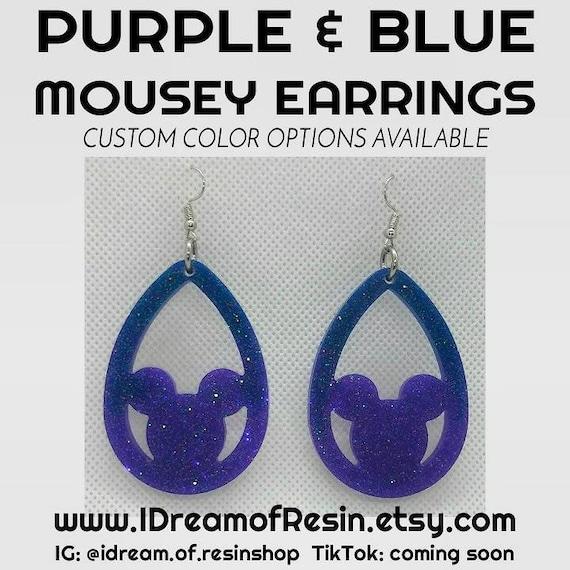 Purple /& Blue Mousey Earrings
