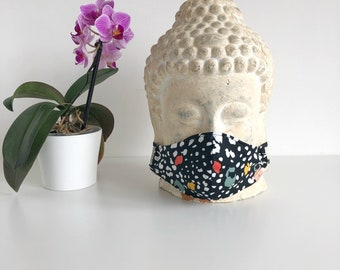 Face mask- Black-animal print-double or triple layered, nose wire, sustainable, eco-friendly, stylish mask
