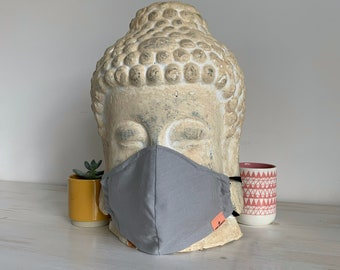 Face Mask (Dark Dove) - double layered [3 layer option] with filter pocket and nose wire, unisex, sustainable, eco-friendly, stylish mask
