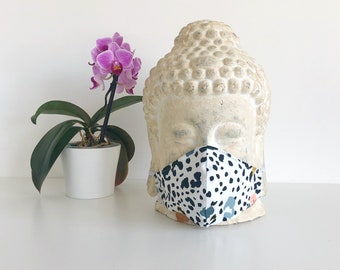 Face mask- White-animal print-double or triple layered, nose wire, sustainable, eco-friendly, stylish mask