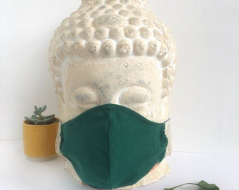 Face Mask (Forest Green) - double layered [3-Layer option] with filter pocket and nose wire, unisex, sustainable, eco-friendly, stylish mask