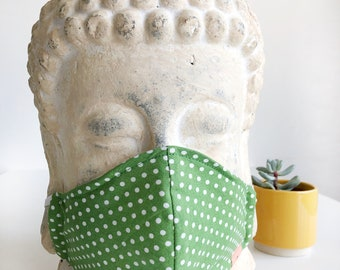 Face Mask (Polka - Green) - double layer [3 layer option] with filter pocket, nose wire, unisex, sustainable, eco-friendly, stylish