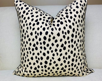 Dodie Beige with Black Spots Print front and Solid Black Velvet Pillow Cover with Invisible Zipper