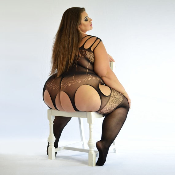Plus Size Lace Fishnet Strappy Garter Dress Bodystocking Fits size 16 22