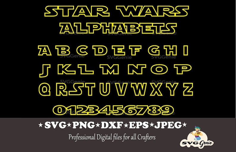 Star Wars Font SVG,Star Wars yellow outline,Star wars font svg, star wars  svg, star wars alphabet svg, Svg Files for Cricut, Silhouette