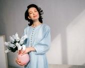 Boho linen dress, women 39 s blue dress, summer ballon dress