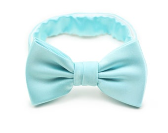 05717e140b8a Kids Bow Tie in Pool | Pool Blue Bow Tie in Boys and Toddler Size | Formal  Solid Colored Bow Tie for Kids in Pool Aqua Blue (fits ages 2-7)