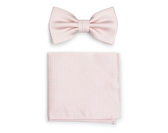 230a4a9b74d7 Groom Bow Tie Set | Blush Bow Tie and Pocket Square Set | Blush Pink with  Textured Woven Pin Dots (pre-tied bow tie + matching hanky)
