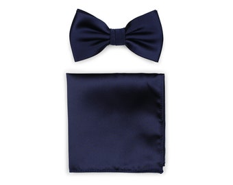 bcbf63ca5550 Dark Navy Bow Tie Set | Bow Tie + Pocket Square Set in Dark Navy Blue -  solid color with satin finish (pre-tied bow tie style)