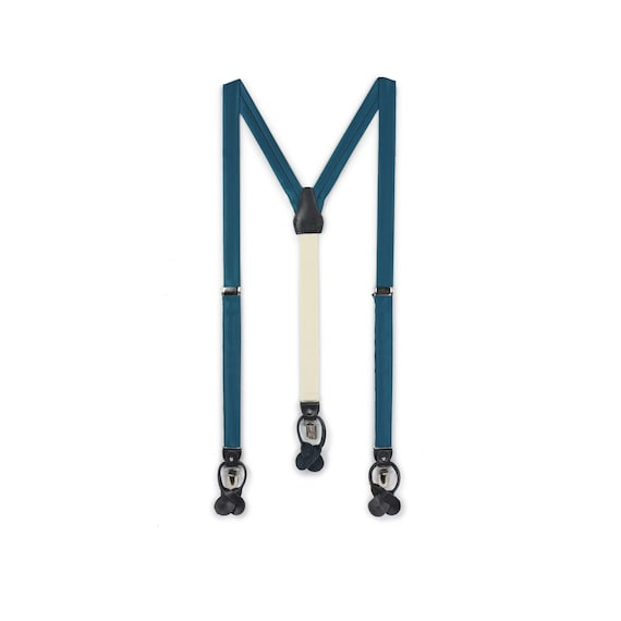 Wedding Suspender and Tie Set in Oasis Teal Blue Bow Tie Bow Tie Set Peacock Color Mens Suspender Pocket Square Teal Suspender