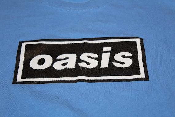 Oasis Band T Shirt - Baby Blue - Large