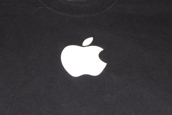 Black Apple Computer - Apple Logo - T shirt -  Med