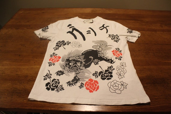 Gucci Linen T-Shirt Top Size Small 'L'AVEUGLE PAR