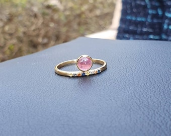 Lovely Heart Shape Green Tourmaline Princess Crown Engagement Wedding Ring Set 14k Rose Gold Plated