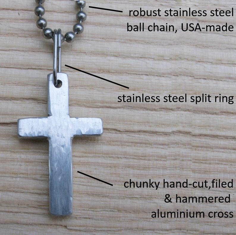 Aluminium Cross /& Stainless Steel Chain