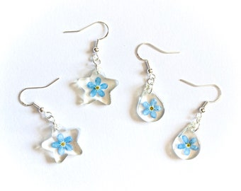 Small Forget Me Not Flower Dangly Resin Earrings