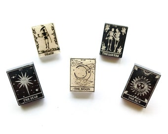 Tarot Card Engraved Chunky Resin Stud Earrings