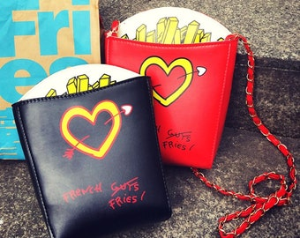 Personalized fashion french fries shape letter print lovely chain shoulder  bag girl purse crossbody mini messenger bag flap 8a0135c205