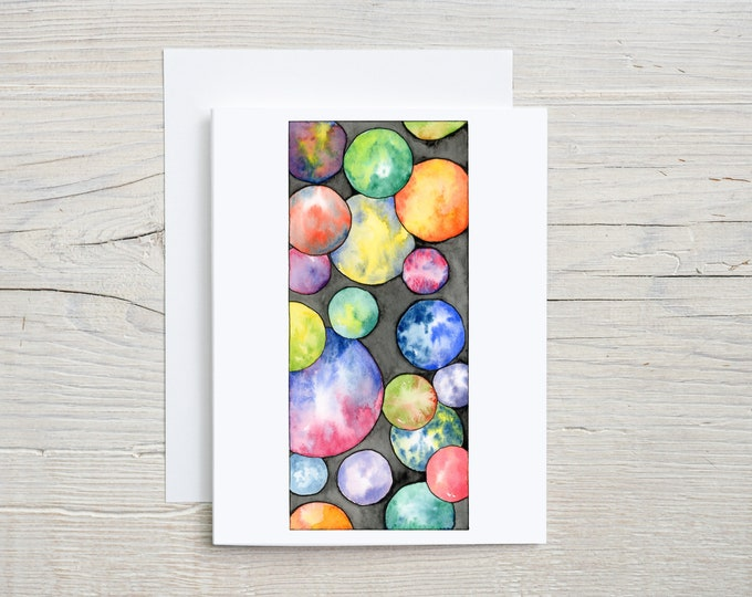 Rainbow Bubbles Note Card
