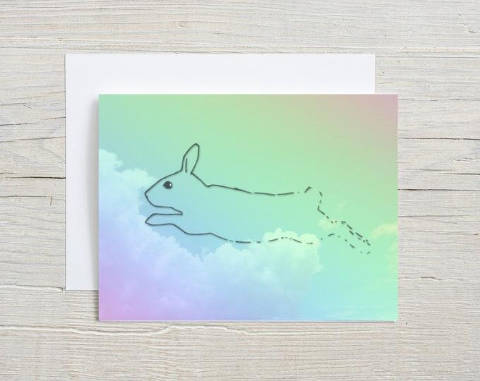 Rainbow Rabbit Clouds Blank Note Card