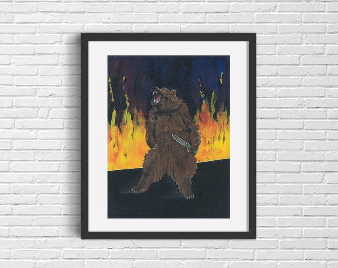 Bear with Knife Art Print   Wall Art